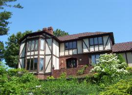 Exterior Painting and Window Cleaning of this Tudor House in Akron Ohio (Summit County)